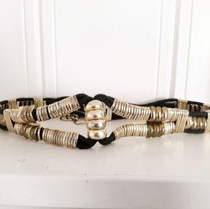 Vintage Black , Silver & Gold Statement Waist Belt